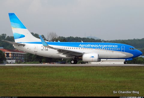 Los colores nuevos de Aerolineas Argentinas en los recientes 737