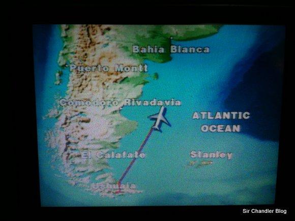 Puerto Stanley en los mapas de Aerolíneas Argentinas