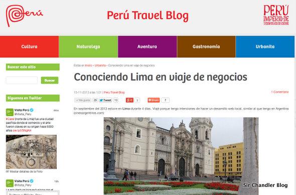 Un post mio en el blog oficial de Perú Travel