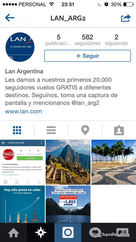 LAN Argentina ligó una cuenta trucha de Instagram (donde caen los bobos de siempre)