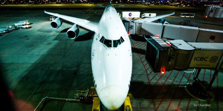 Vuelo en el Boeing 747 de Lufthansa de Frankfurt a Buenos Aires