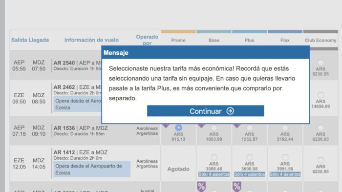 cuanto cuesta el sobrepeso en aerolineas argentinas
