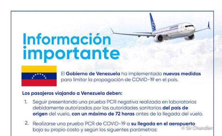 Venezuela pide doble testeo para ingresar
